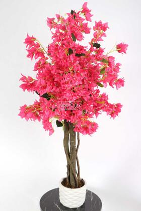 Yapay Çiçek Deposu - Yapay Begonvil Ağacı 105 cm Beton Saksılı Fuşya