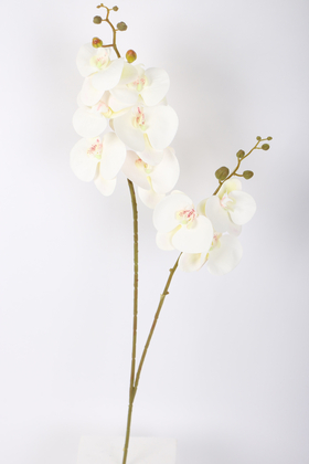 Yapay Çiçek Deposu - Yapay 3D 2li Islak Orkide Çiçeği 90 cm Beyaz