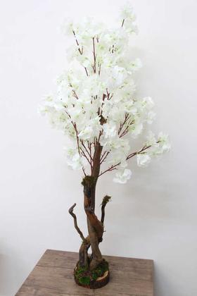 Yapay Çiçek Deposu - Yapay Beyaz Bahar Dalı Ağacı 120 cm