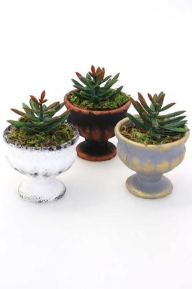 Yapay Çiçek Deposu - Mini Antik Beton Meşale Saksıda Yapay Yeni Succulent 3lü Set