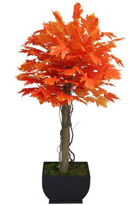 Yapay Çiçek Deposu - Yapay Bodur Ağaç Kızıl Kırmızı Yaprak Hazan 160cm