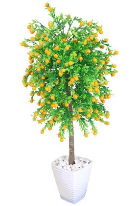 Yapay Çiçek Deposu - Yapay Bodur Armut Ağacı Melamin Saksıda 100 cm