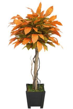 Yapay Çiçek Deposu - Yapay Bodur Ceviz Ağacı 140 cm Parlak Dokulu Yeşil-Kızıl