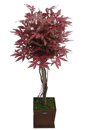 Yapay Çiçek Deposu - Yapay Bodur Çınar Ağacı 110 cm Kızıl