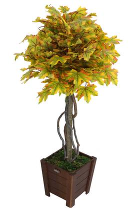 Yapay Çiçek Deposu - Yapay Bodur Çınar Ağacı 110 cm Sonbahar