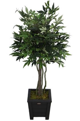 Yapay Çiçek Deposu - Yapay Bodur Çınar Ağacı 110 cm Yeşil-Kızıl