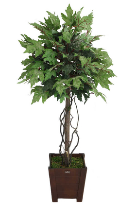Yapay Çiçek Deposu - Yapay Bodur Çınar Ağacı 140 cm Pudralı Yeşil