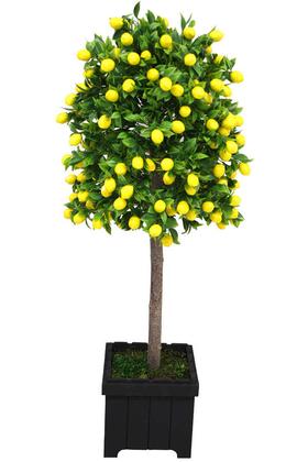 Yapay Çiçek Deposu - Yapay Bodur Limon Ağacı Mdf Ahşap Siyah Saksıda 100 cm