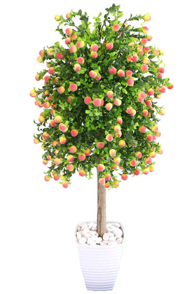 Yapay Çiçek Deposu - Yapay Bodur Şeftali Ağacı Melamin Saksıda 100 cm