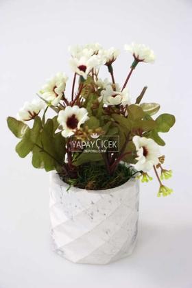Yapay Çiçek Deposu - Beton Saksıda Bahar Papatyası Beyaz