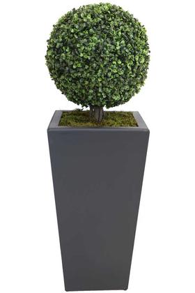 Yapay Çiçek Deposu - Yapay Büyük Şimşir Top 100cm (Dekoratif Ahşap Saksılı)