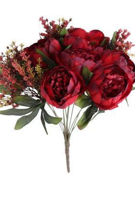 Yapay Çiçek Deposu - Yapay Çiçek 12 Dallı Lüx Şakayık Gül Aranjmanı Bordo