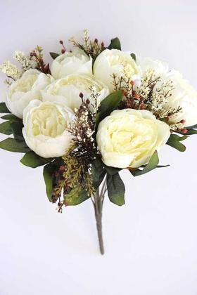 Yapay Çiçek Deposu - Yapay Çiçek 12 Dallı Lüx Şakayık Gül Aranjmanı Kırık Beyaz