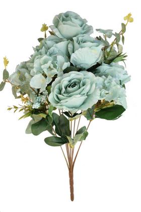 Yapay Çiçek Deposu - 11 Dal Kaliteli Gül Aranjmanı 50 cm Turkuaz