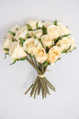 Yapay Çiçek Deposu - Yapay Çiçek 15li Lux Tomur Gül Buketi Somon