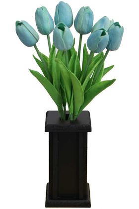 Yapay Çiçek Deposu - Ahşap Vazoda 8li Islak Lale Demeti Turkuaz 32 cm
