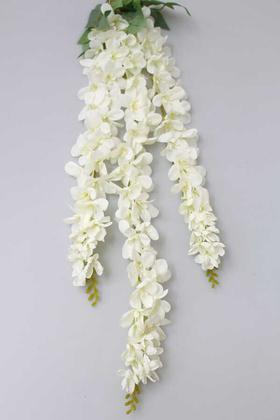 Yapay Çiçek Deposu - Yapay Çiçek 3lü Uzun Sarkan Sümbül 100 cm Beyaz