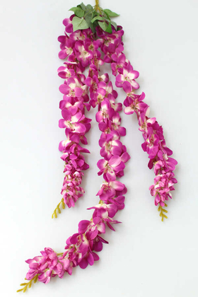 Yapay Çiçek Deposu - Yapay Çiçek 3lü Uzun Sarkan Sümbül 100 cm Fuşya