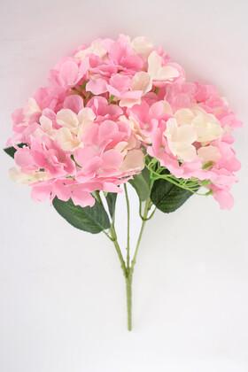 Yapay Çiçek Deposu - Yapay Çiçek 5 Dal Ortanca Demeti Pembe-Krem
