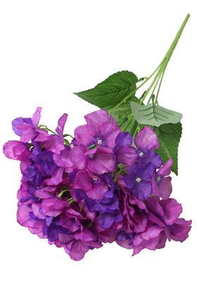 Yapay Çiçek Deposu - Yapay Çiçek 5 Dal Ortanca Demeti 50cm Mor