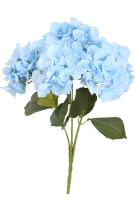 Yapay Çiçek Deposu - Yapay Çiçek 5 Dal Jumbo Ortanca Demeti Buz Mavisi