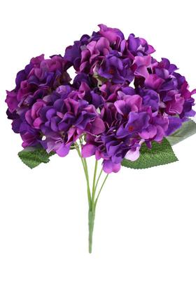 Yapay Çiçek Deposu - Yapay Çiçek 5 Dal Ortanca Demeti Ebruli Mor