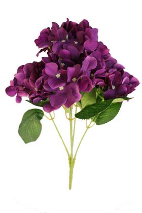 Yapay Çiçek Deposu - Yapay Çiçek 5 Dal Ortanca Demeti Koyu Mor