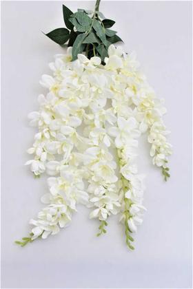 Yapay Çiçek Deposu - Yapay Çiçek 5li Sarkan Sümbül Beyaz