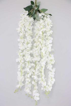Yapay Çiçek Deposu - Yapay Çiçek 5li Uzun Sarkan Ortanca 85 cm Beyaz
