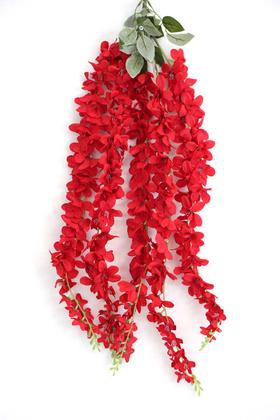 Yapay Çiçek Deposu - Yapay Çiçek 5li Uzun Sarkan Sümbül 90 cm Kırmızı