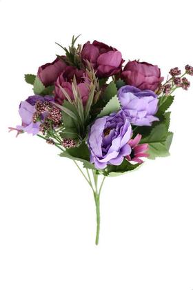 Yapay Çiçek Deposu - Yapay Çiçek 7li İri Kafa Gül Demeti Mürdüm-Mor