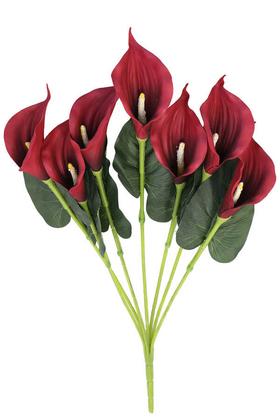 Yapay Çiçek Deposu - Dekoratif 7li Gala Bitkisi Demeti 60 cm Bordo