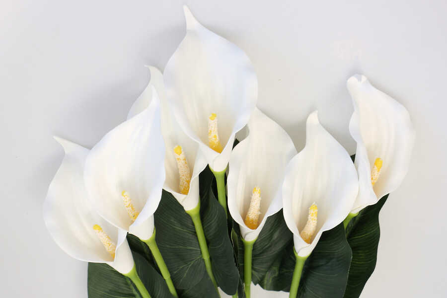 Dekoratif 7li Gala Bitkisi Demeti 60 cm Beyaz