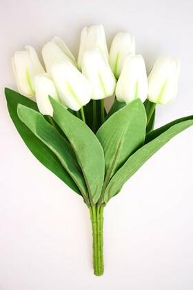 Yapay Çiçek Deposu - Yapay Çiçek 9 Dal Kaliteli Kumaş Lale Demeti Beyaz