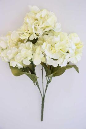 Yapay Çiçek Deposu - 5 Dal Lux Pastel Ortanca Demeti Krem