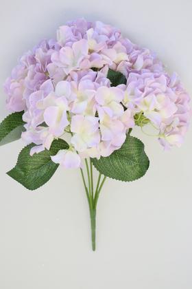 Yapay Çiçek Deposu - Yapay Çiçek Büyük 5 Dal Ortanca Demeti Lila