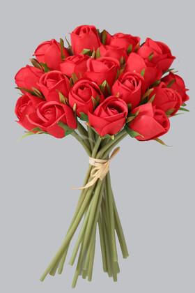 Yapay Çiçek Deposu - Yapay Çiçek 18li Tomur Gül Buketi Kırmızı