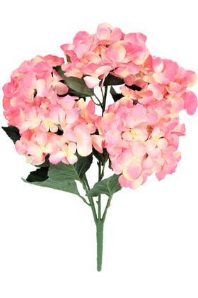 Yapay Çiçek Deposu - Yapay Çiçek Büyük 5 Dal Ortanca Demeti Pembe