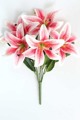 Yapay Çiçek Deposu - Yapay Delüx Islak 3D Lilyum Demeti Pembe