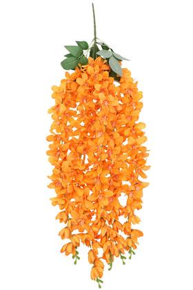 Yapay Çiçek Deposu - Yapay Çiçek 5li Uzun Sarkan Sümbül 85 cm Turuncu