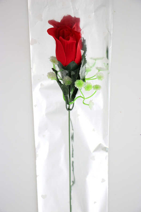 Yapay Çiçek Deposu - Yapay Çiçek Hediyelik Kadife Gül 45cm Kırmızı(Ambalajlı)
