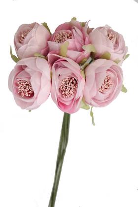 Yapay Çiçek Deposu - Yapay Çiçek İnce İpek Şakayık Gül Demeti 6 Dal Pudra Pembe