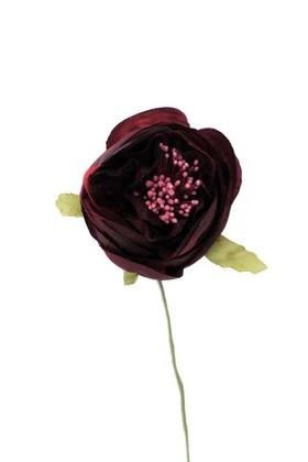 Yapay Çiçek Deposu - Yapay Çiçek İnce İpek Tek Dal Hazırlama Gülü Bordo