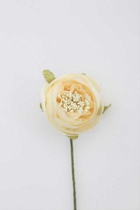 Yapay Çiçek Deposu - Yapay Çiçek İnce İpek Tek Dal Hazırlama Gülü Kırık Beyaz