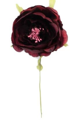 Yapay Çiçek Deposu - Yapay Çiçek İnce İpek Tek Dal Süsleme Gülü Bordo
