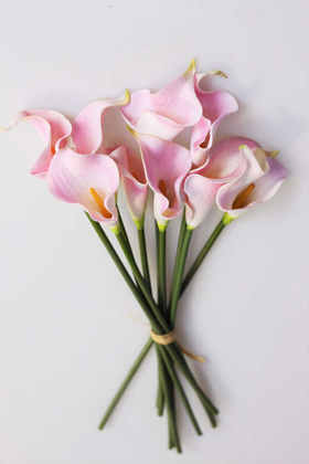Yapay Çiçek Deposu - Yapay Çiçek Islak Gerçek Gala Çiçeği 9 Dal Açık Pembe