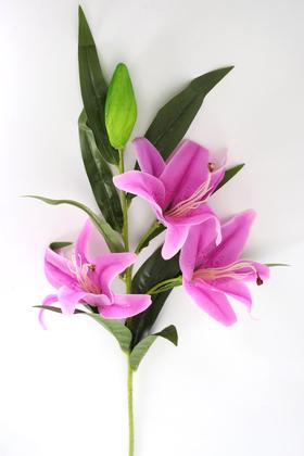 Yapay Çiçek Deposu - Yapay Çiçek Islak Lilyum Zambak Dal 95 cm Mor