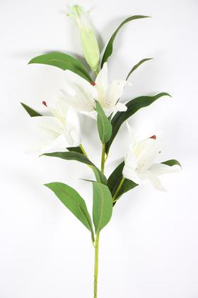 Yapay Çiçek Deposu - Yapay Çiçek Islak Lilyum Zambak Dal 95 cm Soğanlı Beyaz