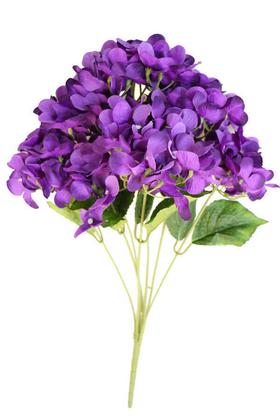 Yapay Çiçek Deposu - Yapay Çiçek Jumbo 7 Dal Ortanca Demeti 60 cm Koyu Mor