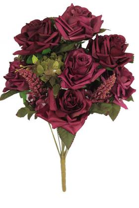 Yapay Çiçek Deposu - Yapay Çiçek Kaliteli 13 Dal Büyük Gül Aranjmanı Mürdüm